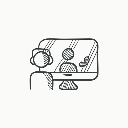Online education sketch icon.