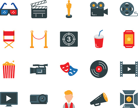 Cinema colorful vector icons set flat style