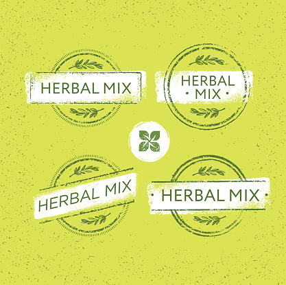 Herbal Mix Organic Green Floral Vector Concept