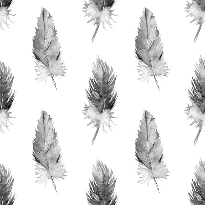 Watercolor monochrome parrot feather seamless pattern texture background