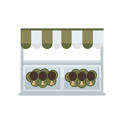 chicken wing hot grill shop icon  green, brown color
