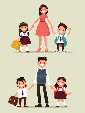 Back to school. Set of characters. Parents with their children