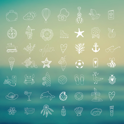 summer beach hand drawn vector symbols and objects
