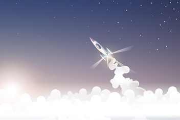 spachship flying through cloud to space when sunrise