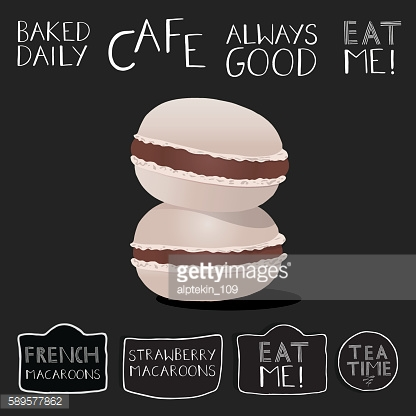 Cream filled macaroon illustrations on chalkboard with hand lettering labels.