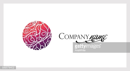 Beautiful mosaic lace logo in stamp style