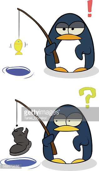 Cartoon little penguins with fishing rod