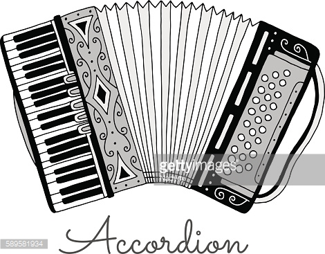 Hand drawn accordion vector illustration. Musical instrument