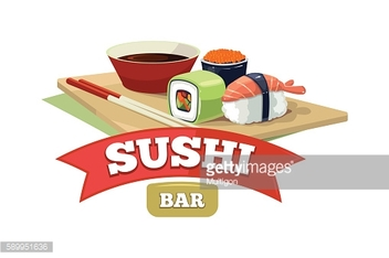 Vector set with sushi banners