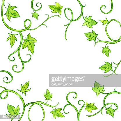 Floral frame with watercolor drawing stems and leaves