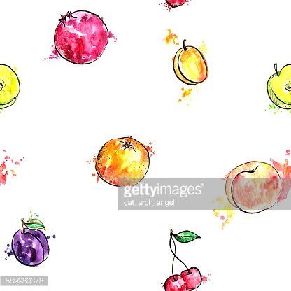 seamless pattern with hand drawn fruits