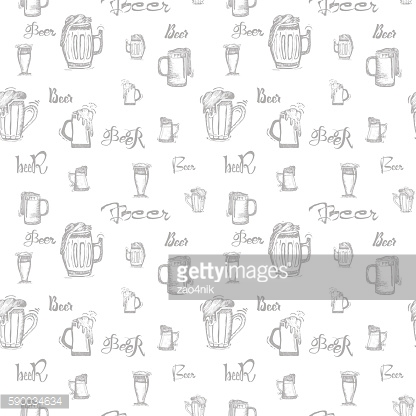 Beer mug and the words  - seamless pattern for your