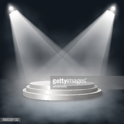 Pedestal with steps lit two lights in the fog. Vector