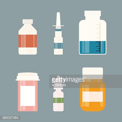 Medicine bottles collection. Drugs, tablets, capsules and sprays. Vector illustration