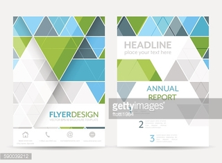 Business flyer template, brochure or corporate banner with geometric pattern.