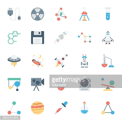 Science and Technology Colored Vector Icons 4