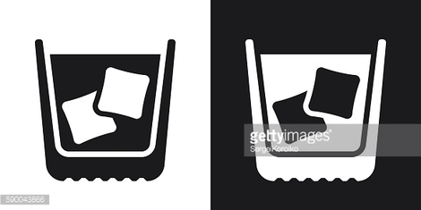 Glass of whiskey with ice, stock vector. Two-tone version