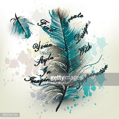 Fashion vector background with blue realistic feather find your