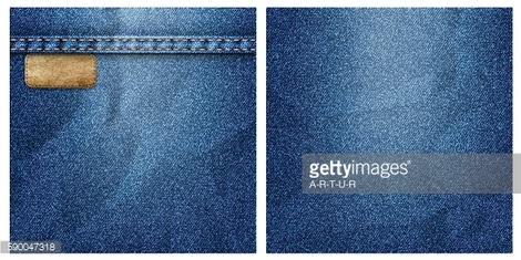 Two crumpled denim backgrounds