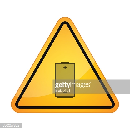 Danger sign with a battery