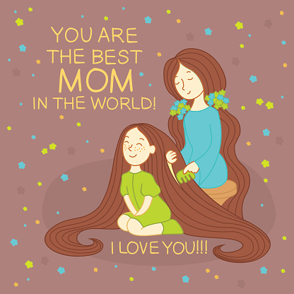 Happy mother's day card. Mother combing daughter's hair.