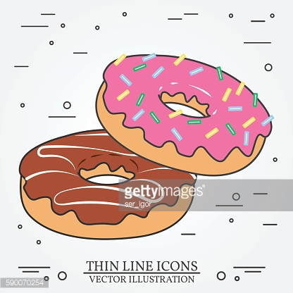 Donuts thin line icon.