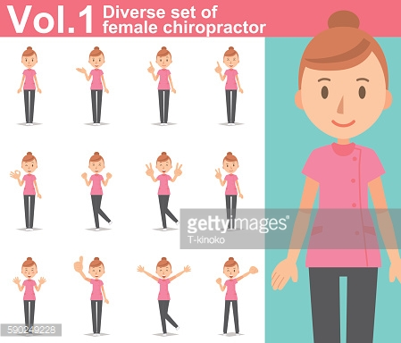 Diverse set of female chiropractor on white background  vol.1