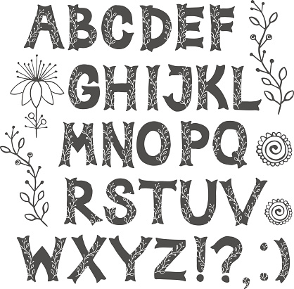 Bold grey font  with floral elements