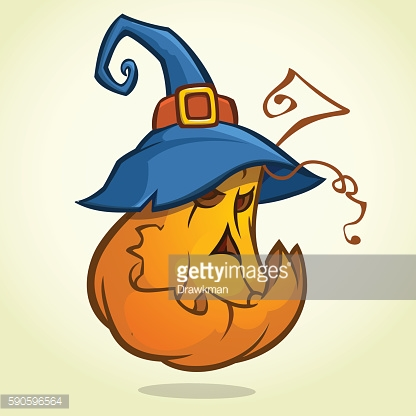 Jack-O-Lantern. Halloween pumpkin with black witches hat. Vector illustration
