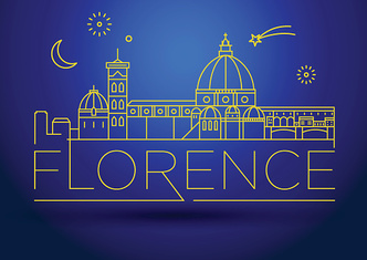 Minimal Vector Florence City Linear Skyline with Typographic Des