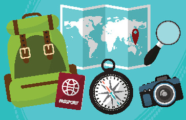 Hike and travel by world with passport facilities, backpack, a