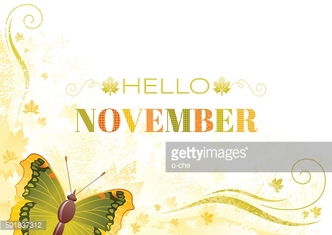 Hello November autumn background with butterfly