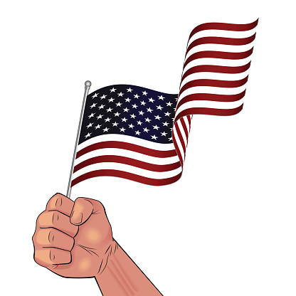 Man hand holding waving USA flag