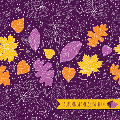 Autumn seamless pattern with seeds and leaves