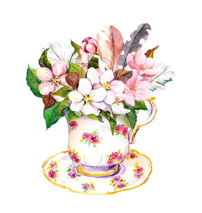 Pink blossom flowers, vintage feathers in tea cup. Watercolor