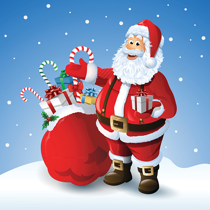Cartoon Santa claus with a bag of toys in front