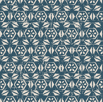 Worn out seamless background 538 vintage polygon cross triangle flower