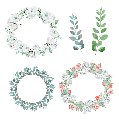 Watercolor flower wreaths and sprigs