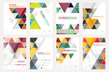 Set of flyer design with geometric pattern.