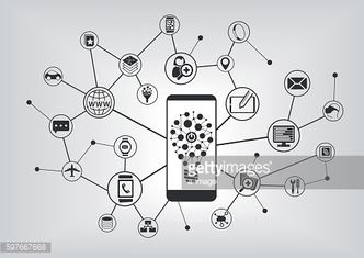 Innovative mobile technology. Smart phone connecting to mobile devices
