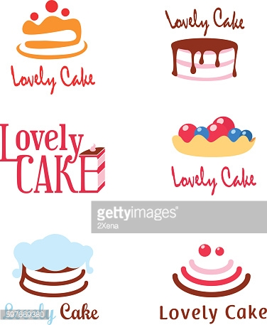 Six concepts of pie and cake logotypes