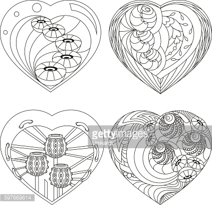 Set of hearts in the style of Doodle