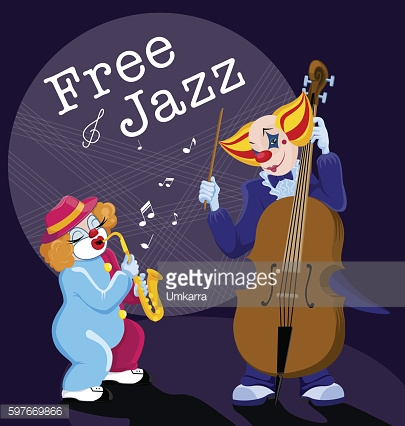 Clown with saxophone and double bass playing jazz