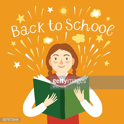 Girl holding a book. Back to school illustration