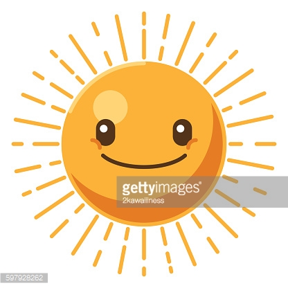 Smiling sun icon. Summer time concept