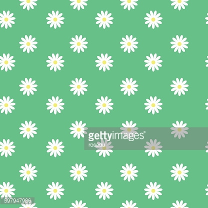 small daisies on a green background, seamless pattern