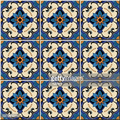 Seamless pattern from colorful floral Moroccan, Portuguese tiles, Azulejo, ornaments.