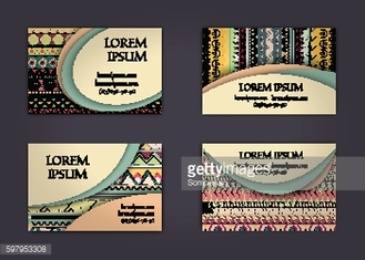 business  visiting card template with boho style pattern background.