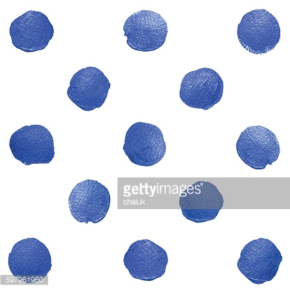 Vector blue watercolor brush polka dot. Oil paint smear