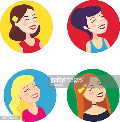Vector icons of cheerful women